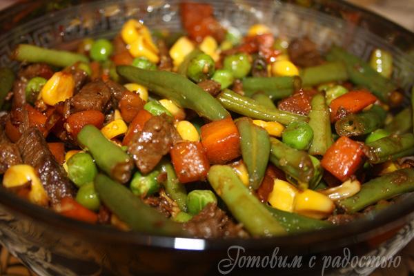 овощей Чем замороженных заправить из салат